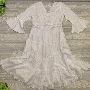 Neiman Marcus White Gauzy Lace Boho Dress